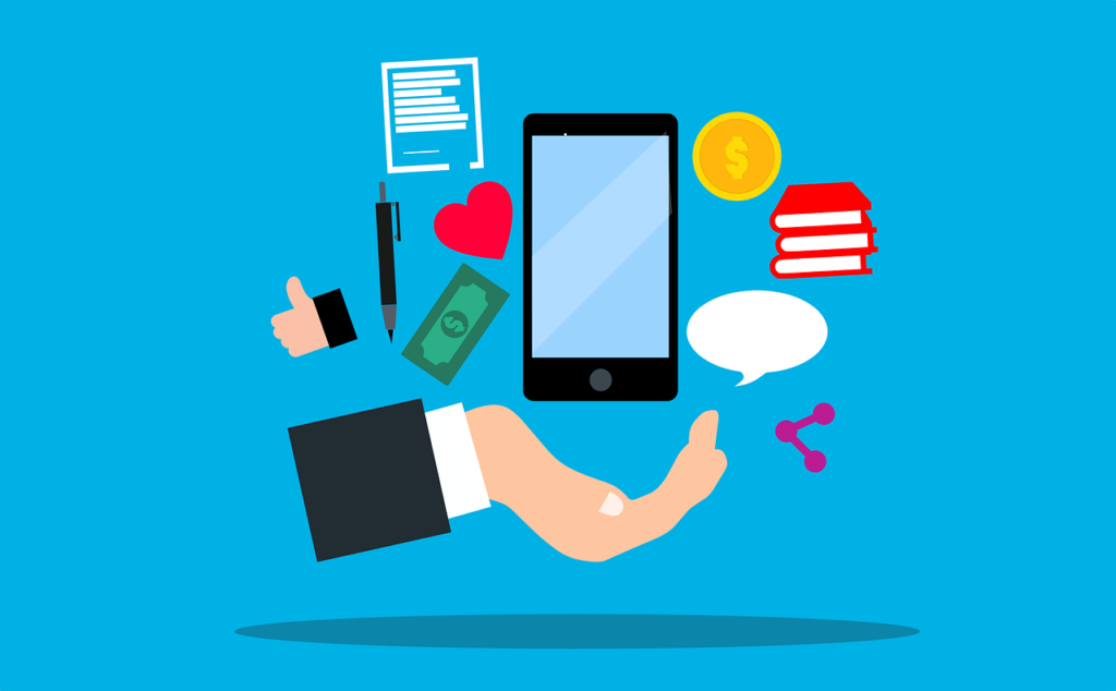 phone with different customer engagement icons surrounding